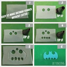 Batman symbol logo tutorial for fondant, gumpaste, pastillage or clay. Birthday or special occasion cake cupcakes Fondant Toppers, Fondant Cakes, Cupcake Toppers, Cupcake Cakes, Fondant Recipes, Cake Recipes, Batman Cupcakes, Batman Cookies, Ideas Party