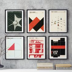 Bauhaus Mid-Century 6-piece Graphic Design Wall Art East German REDS Print Reproduction Industrial Magazine Cover Form Zweck Graphic Gift