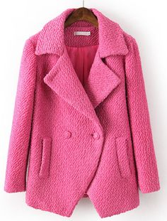 Red Lapel Long Sleeve Pockets Woolen Coat US$55.08
