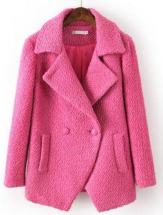 Red Lapel Long Sleeve Pockets Woolen Coat US$55.08