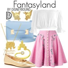 Fantasyland by leslieakay on Polyvore featuring Sans Souci, Olympia Le-Tan, MICHAEL Michael Kors, Sophie Hulme, Disney, Wish by Amanda Rose, disney, disneybound and disneycharacter