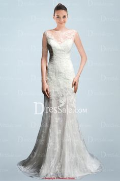 All Lace Bridal Gown Featuring Illusion Sweetheart Neckline and Skirt