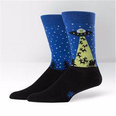 Sock It To Me Mens Crew Alien Stole Xmas Socks