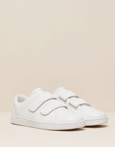 Pull&Bear - woman - back to school - leather plimsolls with velcro - white - 15740011-I2015