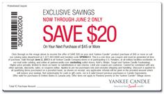 $20 off $45 Printable Coupon For Yankee Candle