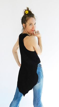 Woman dress leather vest leather vest black. Dress by Davikalove