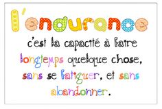 """Affiche """"endurance"""" pour les 5 au quotidien Teaching Class, Education And Literacy, Teaching Reading, French Teaching Resources, Teaching French, Daily Five Cafe, Daily 5, French Classroom, Bulletins"""