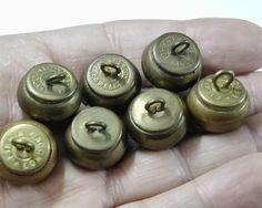 ButtonArtMuseum.com - 7 British Blank Brass Ball Buttons WWI Era RHA Royal Horse Artillery Mixed Maker Royal Horse Artillery, Button Picture, Metal Buttons, Wwi, British, Brass, Personalized Items, Rice