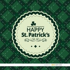 "This is a beautiful rhombs background for St. Patrick's Day celebration with a round seal that has written ""Happy St. Patrick's"" decorated with a shamrock, swirls and other ornaments. You can use this vector as wrapping paper, invitations, or cards with messages.High quality JPG included. Under Commons 4.0. Attribution License."