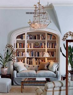 Ship chandelier - because I'm quirky that way. Whimsical spot to read a book.