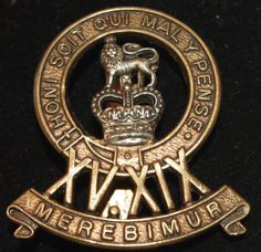 World War II - British - 15th / 19th Kings Royal Hussars Regiment - Cap Badge - c1940s