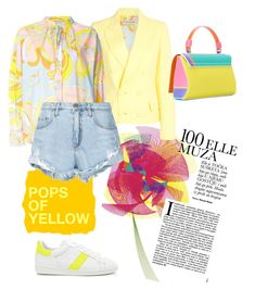 """""""Pops of Yellow"""" by sakuranoki ❤ liked on Polyvore featuring Emilio Pucci, Nobody Denim, PopsOfYellow and NYFWYellow"""