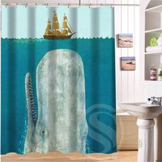 Shark Never Stop Dreaming Shower Curtain 60-inch by 72-inch Free Shipping Custom More size