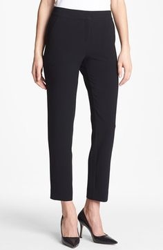 Free shipping and returns on St. John Collection 'Emma' Crop Crepe Marocain Pants at Nordstrom.com. Flat-front crepe marocain pants with darting at the back waist feature a modern, cropped length.