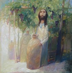Jesus at the Wedding at Cana, by Alexander Antonyuk, ukrainian artist Catholic Art, Religious Art, Life Of Christ, Jesus Face, Biblical Art, Spirited Art, Orthodox Icons, Russian Art, Sacred Art