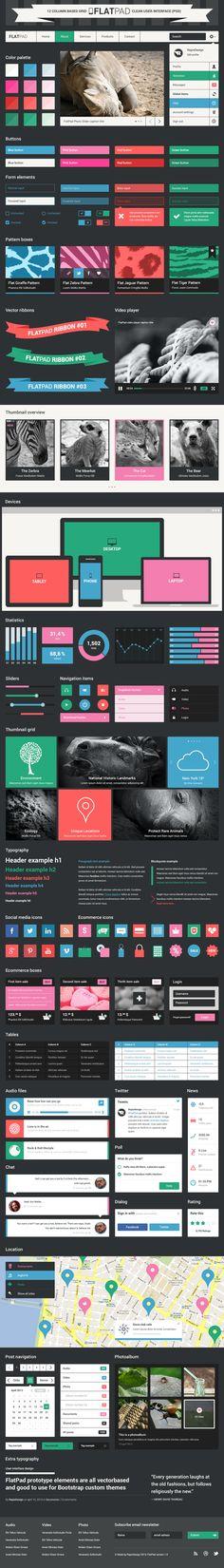 FlatPad Dark clean user interface (PSD), 12-column Grid by Repix Design, via Behance