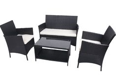 £140  BTM rattan garden furniture sets patio furniture set garden furniture clearance sale furniture rattan garden furniture set table chairs sofa patio conservatory wicker new (Brown): Amazon.co.uk: Garden & Outdoors