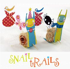 Snail Trail Treat   This week's treat is a real fun ssssssssnack!       You will need:  - Scissors & stanley knife, glue stick, sate sticks, bread knife  - Bread and filling of choice: eg, peanut butter, jam, chocolate paste, sprinkles, cheese, ham etc...    To ma