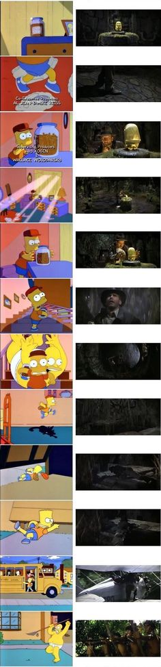 """Stills from the Simpsons' homage to """"Raiders of the Lost Ark"""""""