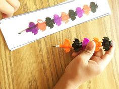 New busy bag activity added. Bat stacking pencils with over 27 laminated pattern cards ALL levels, AB, ABC, ABCD, symmetry etc Make HALLOWEEN a learning day fun! limited supply