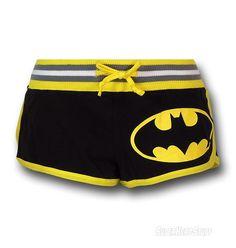 Batman Juniors Striped Logo Short Shorts from Superhero Stuff. Saved to Bottoms. Hot Shorts, Mini Shorts, Hot Pants, Striped Shorts, I Am Batman, Batman Vs Superman, Batman Stuff, Super Hero Outfits, Cute Outfits