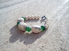 Cream African Opal, Tan Fossil Stone & Green Glass Bracelet.
