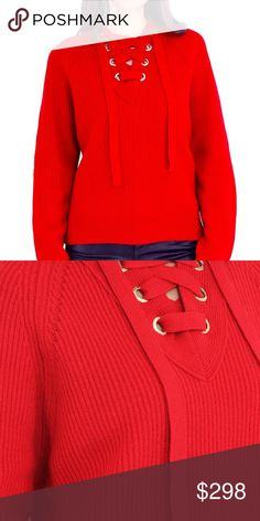 Sweater with on trend lace-up V-neckline Thick ribbed knit sweater with on trend lace-up V-neckline in a bold red perfect for the holiday season. Zadig & Voltaire Sweaters V-Necks
