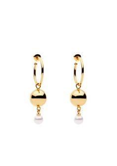Billie Earrings Hoop Pearl S/Steel Gold Gold Jewelry, Jewellery, Amber, Hoop Earrings, Steel, Pearls, Jewels, Jewelry Shop, Gold Jewellery