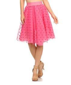 Another great find on #zulily! Pink Polka-Dot Layered Midi Skirt #zulilyfinds