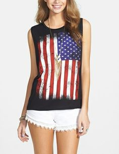 Perfect for a 4th of July BBQ! Love this American flag muscle tee.
