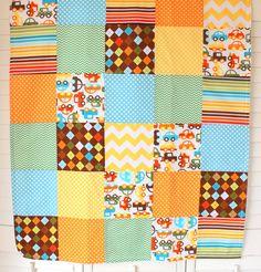 Baby Boy Blanket - Patchwork Blanket - Chevron Nursery - Go Car Go