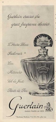 Vintage perfume ad for Shalimar, created in and still scenting strong ; Perfume Ad, Vintage Perfume Bottles, Parfum Guerlain, Decoupage, Parfum Paris, Top Perfumes, Beautiful Perfume, Smell Good, Vintage Beauty