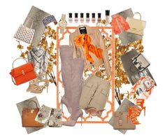 """Beige and Orange"" by sophiajamdown on Polyvore featuring Pier 1 Imports, Safavieh, Yves Saint Laurent, Michael Kors, Les Georgettes, Givenchy, Balenciaga, Le Silla, MuuBaa and Kenzo"