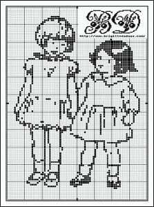 Two Girls Cross Stitch Pattern · Cross-Stitch | CraftGossip.com