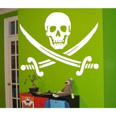 Jolly Roger Piracy Pirate Flag Skull and Bones Sticker Vinyl Wall Art