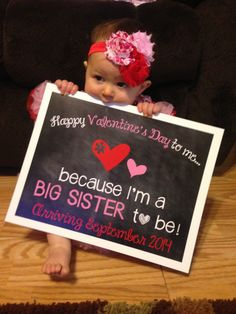 Valentine's Day Big Sister Announcement Photo Prop // Valentine // Pregnancy Reveal by ChalkingItUpBoards on Etsy https://www.etsy.com/listing/172870868/valentines-day-big-sister-announcement