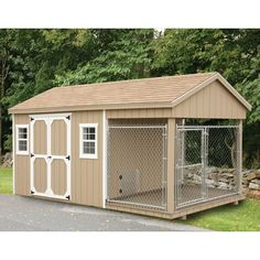 Fully Assembled 8 x 18 ft Amish 1 Run Dog Kennel and Shed Combo – Muriel L. House Home Metal Dog Kennel, Wooden Dog Kennels, Diy Dog Kennel, Kennel Ideas, Outdoor Dog Kennel, Dog Kennel And Run, Puppy Kennel, Outdoor Cats, Insulated Dog Kennels
