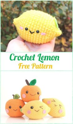 Crochet toys 356980707953913441 - Crochet Amigurumi Lemon Free Pattern- Crochet Amigurumi Fruits Free Patterns Source by Bunny Crochet, Crochet Fruit, Kawaii Crochet, Crochet Diy, Crochet Food, Crochet Gifts, Crochet Dolls, Crocheted Toys, Vintage Crochet