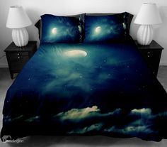 Romantic White Moon and Clouds Print 4-Piece Duvet Cover Sets