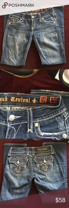 """Rock Revival jeans. Cool jeans in great condition. Beautiful embroidery and rivets. The Debbie boot cut.  Some wear on the hems. 15"""" across waist.  29.5"""" inseam. Rock Revival Jeans Boot Cut"""