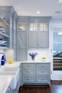 here: Beaded Inset Face Frame, Farrow and Ball Lamp Room Gray, Maple, Newport Door - Kitchen Ideas Classic Kitchen Cabinets, Kitchen Cabinet Colors, Blue Gray Kitchen Cabinets, Blue Gray Kitchens, Kitchen Cabinets With Glass Doors On Top, Kraftmaid Kitchen Cabinets, Cottage Kitchen Cabinets, Cream Cabinets, Shaker Style Cabinets