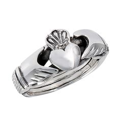 4-band Claddagh Sterling Silver Puzzle Ring Sizes: 6, 7, 8, 9, 10, 11, 12