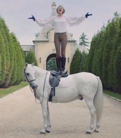 Taylor Swift's Blank Space - Oscar de la Renta Silkblend Fluttersleeve Blouse, Ralph Lauren Trusers, Knee High Boots
