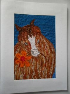 Pony with Flower Textile Art by wendieshouse on Etsy