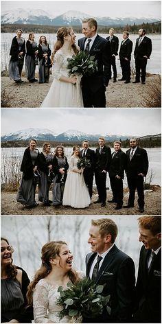 Winter Pyramid Lake Resort Wedding in Jasper, Alberta. Wedding Couples, Our Wedding, Wedding Ideas, Party Photos, Wedding Photos, Alternative Bouquet, Winter Wedding Colors, Lake Resort, Grey Bridesmaid Dresses