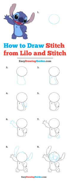 How to Draw Stitch from Lilo and Stitch - Really Easy Drawing Tutorial - - How to Draw Stitch from Lilo and Stitch – Really Easy Drawing Tutorial drawings Wie man Stiche von Lilo und Stitch zeichnet – Wirklich einfaches Zeichen-Tutorial Lilo Y Stitch Dibujo, Lilo En Stitch, Disney Stitch, Lilo And Stitch Ohana, Easy Disney Drawings, Disney Character Drawings, Cute Easy Drawings, Easy To Draw Disney, Drawing Disney