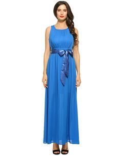 Womens Sexy Sleeveless Solid Prom Party Chiffon Long Maxi Dress with Belt