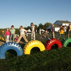 Backyard Playground Equipment - Ideas on Foter Diy Playground, Natural Playground, Playground Equipment For Schools, Tire Craft, Old Tires, Kids Play Area, Outdoor Classroom, Backyard For Kids, Outdoor Fun