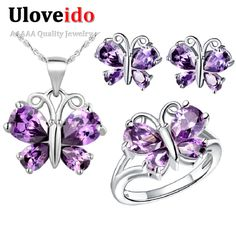 Find More Jewelry Sets Information about Uloveido Butterfly Silver Purple Crystal Party Dress Bridal Jewelry Set Gift Wedding Jewelry Sets Rings Necklace Earrings T235,High Quality dress easy,China dress up games for weddings and proms Suppliers, Cheap dress design for office from Uloveido Official Store on Aliexpress.com
