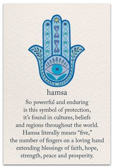 Hamsa - Inside Message: May you feel truly blessed and protected all days of your life. Sanskrit Symbole, Tatouage Hamsa, Symbols And Meanings, Mayan Symbols, Norse Symbols, Ancient Symbols, Symbols With Meaning, Wisdom Meaning, Art With Meaning